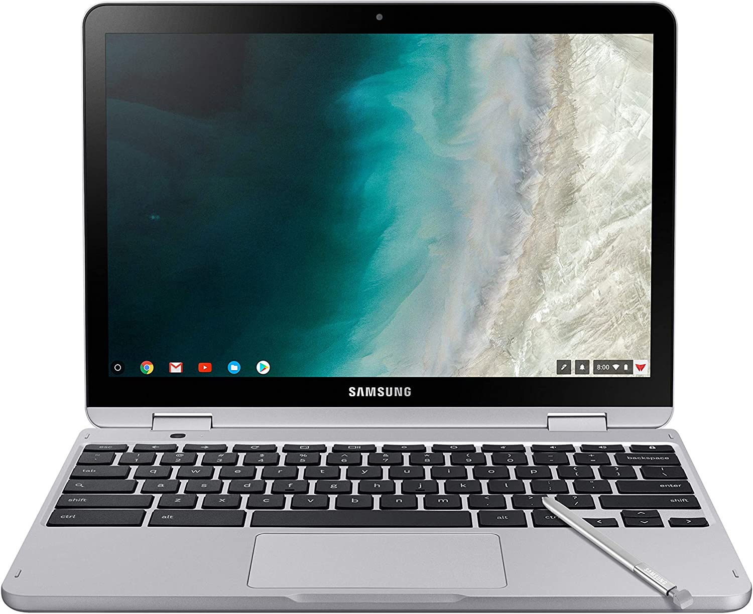 "Samsung Chromebook Plus V2, 2-in-1, 4GB RAM, 32GB eMMC, 13MP Camera, Chrome OS, 12.2"", 16:10 Aspect Ratio, Light Titan (XE520QAB-K01US)"