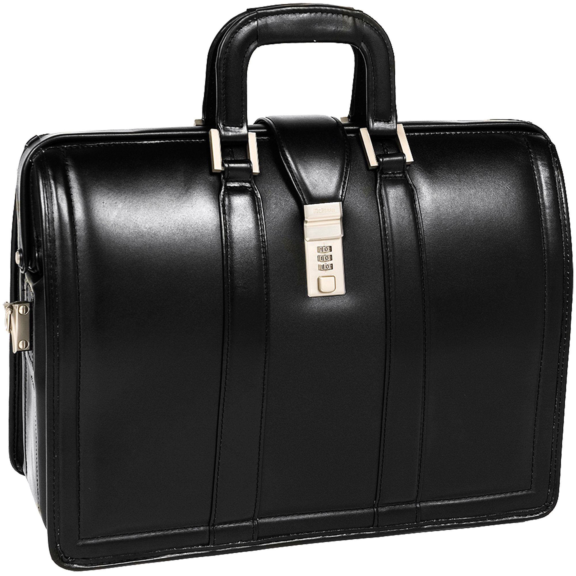 McKleinUSA Morgan [Personalized Initials Embossing] 17'' Leather Litigator Laptop Briefcase in Black