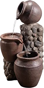 "Peaktop Outdoor Stacked Pot Fountain, 26"", Stone Grey"