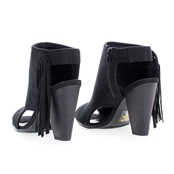 Amazon.com | Sullys Peep Toe Sling Back Fringe Stacked Block Heel Ankle Bootie | Shoes