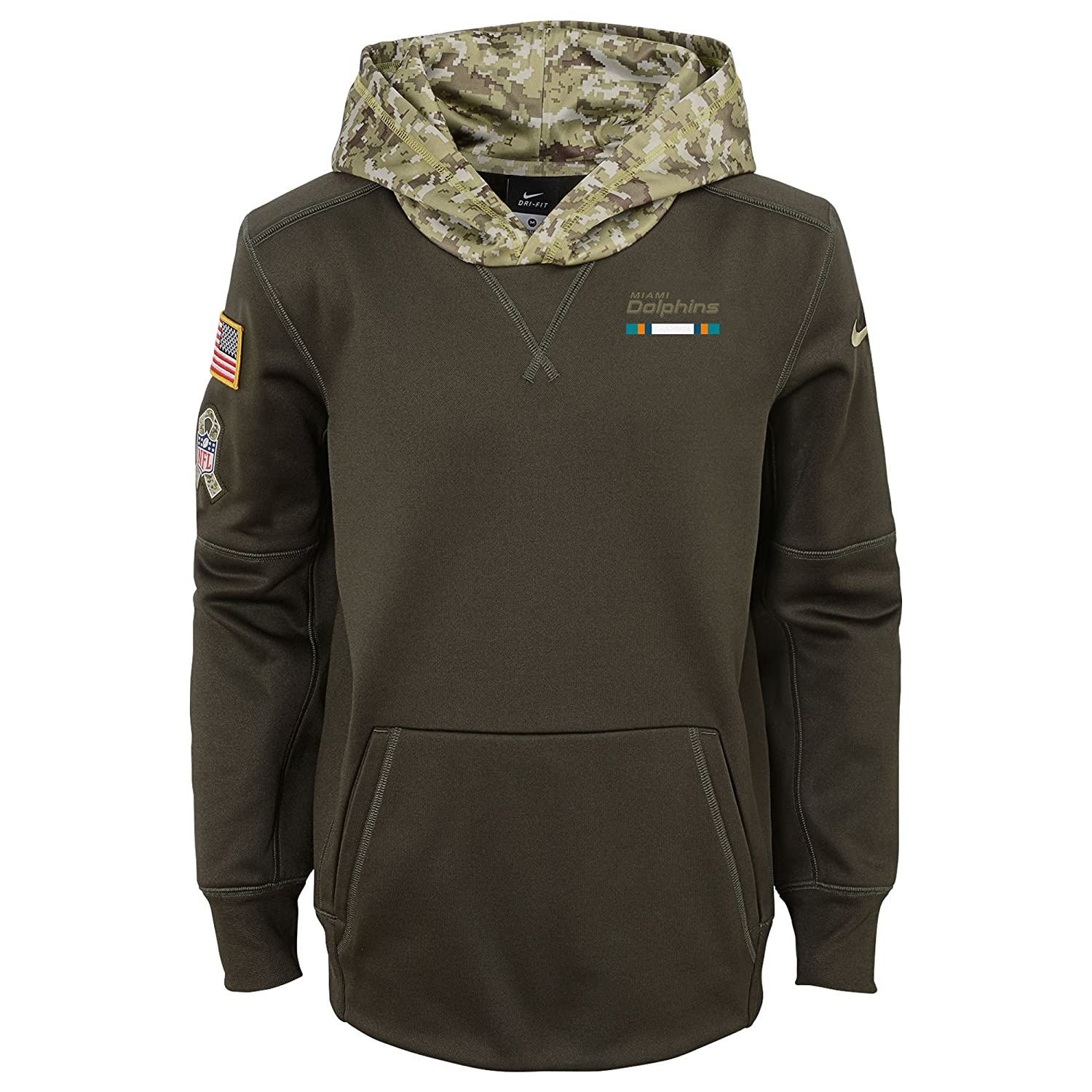 best service 5b04a e1030 Nike Youth Miami Dolphins Olive Salute To Service Pullover ...