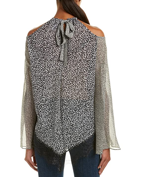 9510cecf55353 Amazon.com  Derek Lam 10 Crosby Cold Shoulder Halter Blouse w Lace in  Black  Clothing