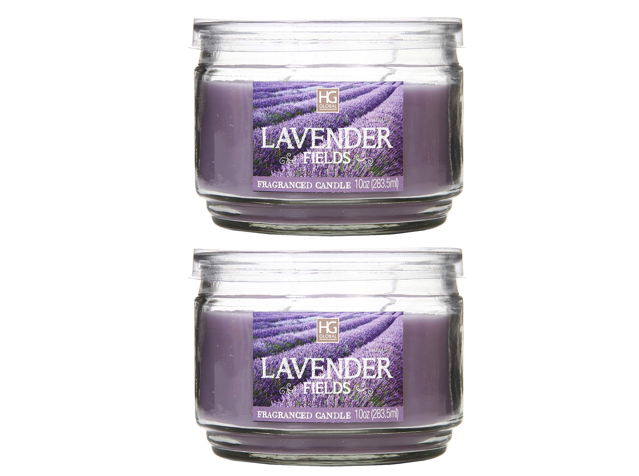 Hosley Set of 2 Lavender Fields Highly Scented, 2 Wick, 10 Oz Wax, Jar Candle. Ideal Votive Gift for Party Favor, Bridal, Wedding Spa Reiki, Meditation, Bathroom Settings O9.