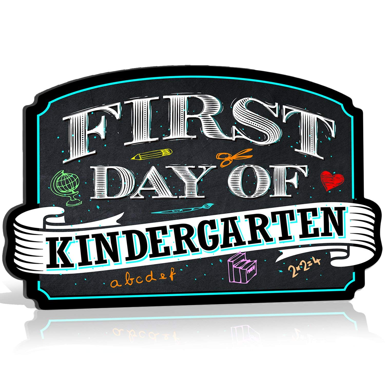 Bigtime Signs First Day of Kindergarten Sign Board Plaque Back to School Sign for use as Photo Prop for a Boy or Girl 10 inches x 15.5 inches (Kindergarten) by Bigtime Signs