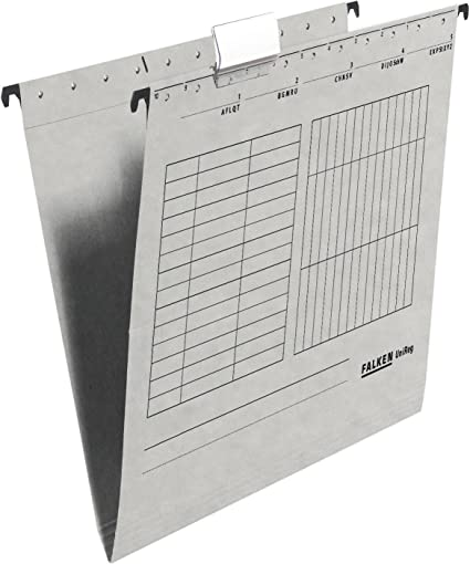 graue Hänge Mappen von Falken 25 Stück mit Sichtreiter stabiler Karton DIN A4