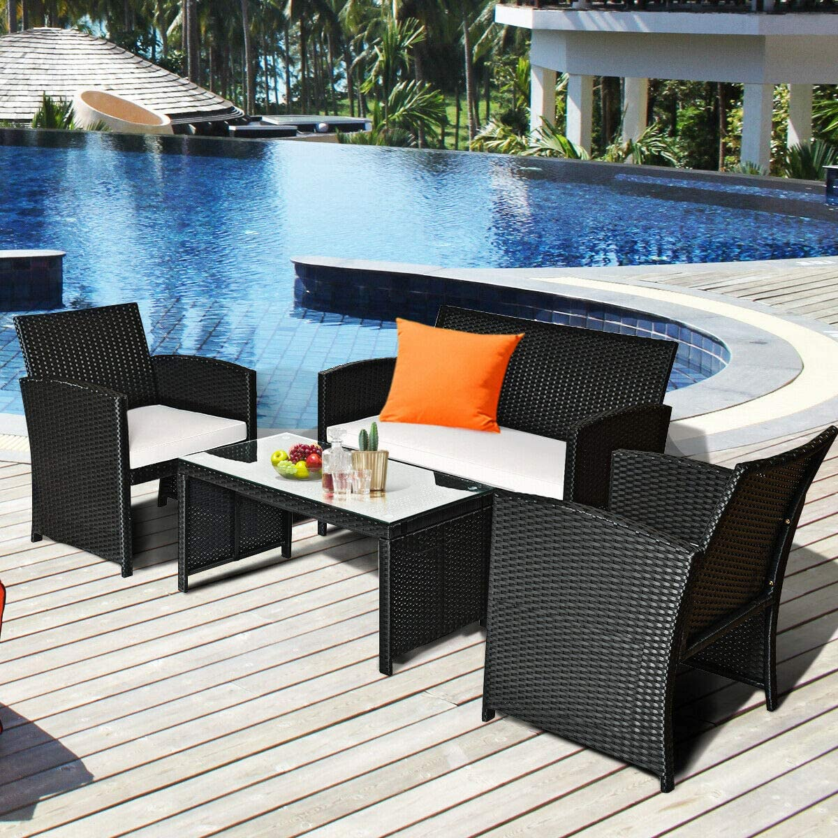 4 Pcs Rattan Sofa Table Set Kit Patio Outdoor Wicker Couch Furniture w/Cushion