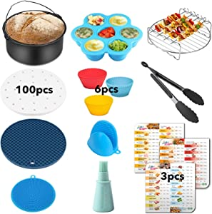 Air Fryer Accessories Set of 11 for Instant Pot Air Fryer Lid 6Qt, Duo Crisp and Pro Crisp Air Fryer 8Qt with Cook Times Magnetic Cheat Sheet, Baking Mold and Cake Pan