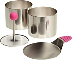 Ateco 4950 Round Food Molding Set, 2.75 by 2.1-Inches High, 4-Piece Set Includes 2 Rings, Fitted Press & Transfer Plate