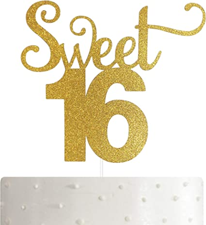 16th Birthday Cake Topper,16th Happy Birthday Party Decoration with Premium Gold Glitter