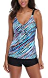 Attraco Women's Two Piece Retro Oceanic Stripes Swimsuit Tie Front Swimming Costume Tankini Sets
