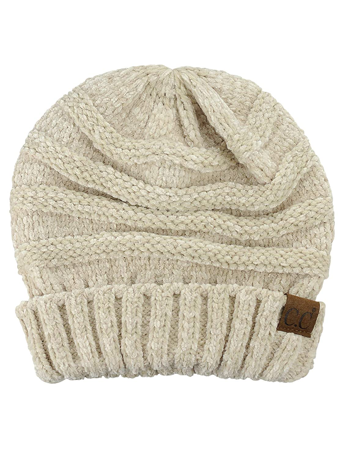 f761f045ba441 C.C Women s Chenille Oversized Baggy Soft Warm Thick Knit Beanie Cap ...