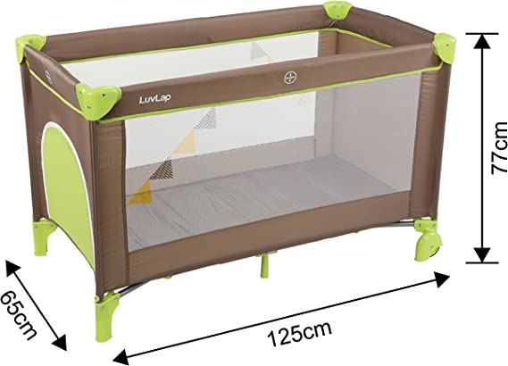 LuvLap Sunshine Baby Playpen Playard / Folding Baby Bed Cum Cot / Convertible Crib - (Brown and Green)