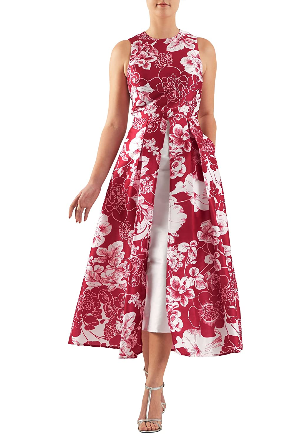 Plus Size Vintage Dresses, Plus Size Retro Dresses Hostess- Floral print dupioni inset front dress $66.95 AT vintagedancer.com