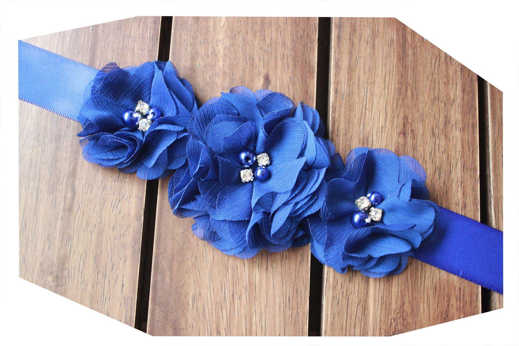 Bridesmaid and Flowergirls sashes wedding sash pearls flowers belts (Royal blue)