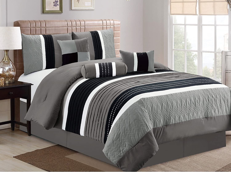 Comforter Sets Queen.Esca 7 Piece Closeout Luxury Bed In Bag Comforter Set Queen Grey