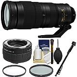 Nikon 200-500mm f/5.6E VR AF-S ED Nikkor Zoom Lens with 2X Teleconverter + Monopod + 2 (UV & CPL) Filters Kit