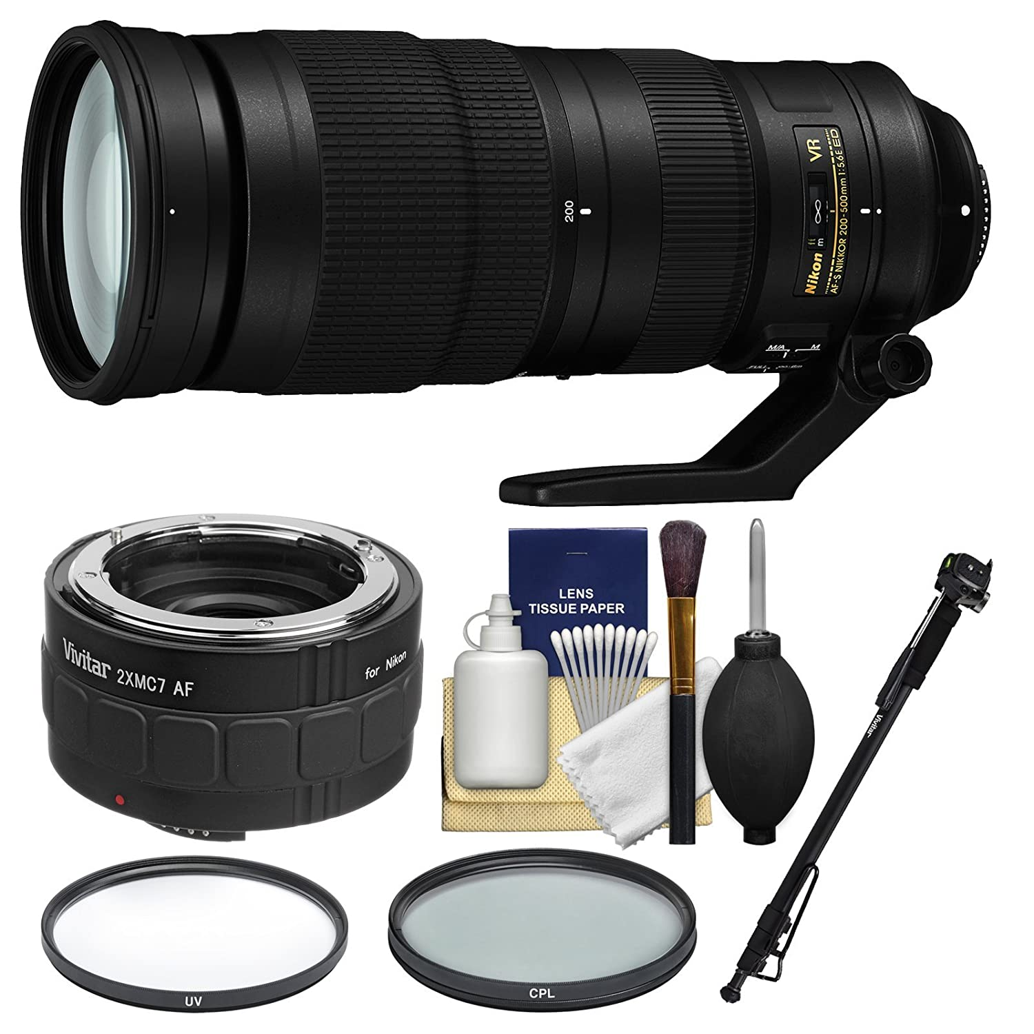 Nikon 200 – 500 mm f / 5.6e VR ED Nikkor af-sズームレンズwith 2 x Teleconverter +一脚+ 2 (UV & CPL)フィルターキット   B076TMN9ZZ