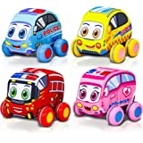 ArtCreativity Pullback Plush Car Set, Set of 4, Soft-Sided Stuffed Cars with Pullback Mechanism, Cute and Colorful for…
