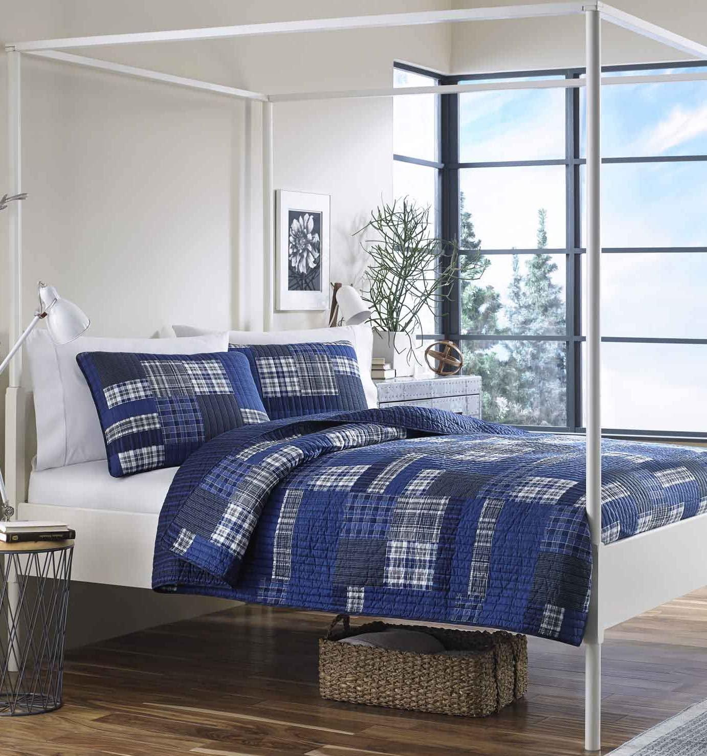 Eddie Bauer Home   Eastmont Collection   100% Cotton Reversible & Light-Weight Quilt Bedspread with Matching Shams, 3-Piece Bedding Set, Pre-Washed for Extra ComfortKingBlue