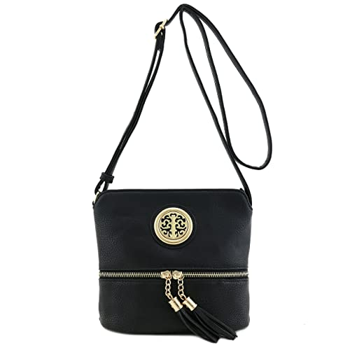 9f754f8ea8dc Tassel Accent Small Crossbody Bag with Emblem Black  Handbags ...