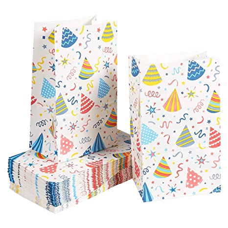 Paper Goody Bags for Kids - 36 Pack Party Favor Bags for Birthday Party Goodies, Classroom Party Treats, Recyclable Paper Treat Bags, 5.1 x 8.75 x ...