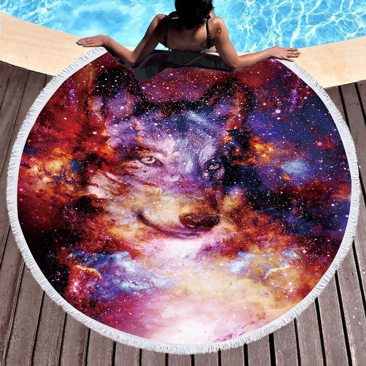 Sleepwish Wolf Beach Towel Galaxy Animal Tapestry Round Beach Blanket Towel Terry Beach Roundie Circle Yoga Mat with Fringe (Galaxy Wolf, 60'' Roundie approx)