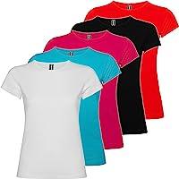 Pack 5 | Camiseta Mujer Algodón | Manga Corta | Corte Entallado