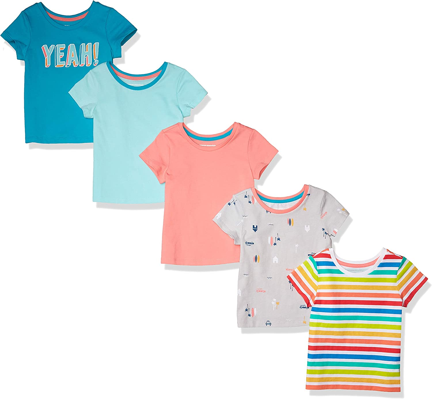 Essentials Girls 5-Pack Fashion T-Shirts