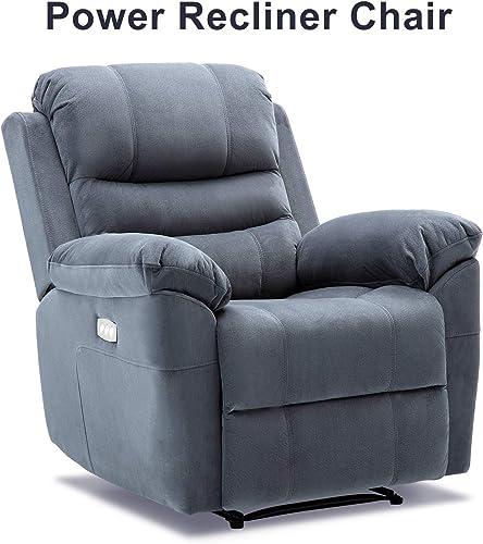 Bonzy Home Power Recliner Chair Headrest Lumbar Support Adjustable with Three Motors – Overstuffed Velvet Electric Home Theater Seating – Bedroom Living Room Chair Recliner Sofa Navy