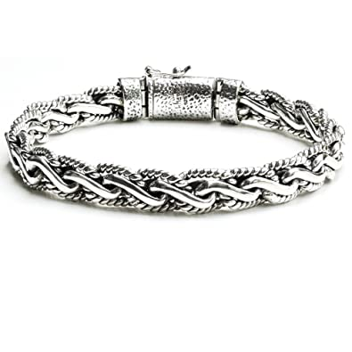 cc51969d69db4 Sterling Silver Braided Bali Style Cable Antique Style Rope Link Chain  Bracelet for Men Length 8