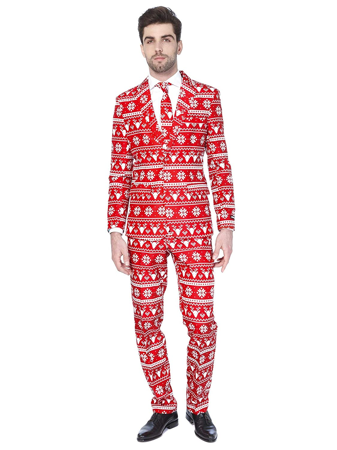 Red Nordic XL Suitmeister Christmas Suits for Men in Different Prints  Ugly Xmas Sweater Costumes Include Jacket Pants & Tie (bluee Snowman,XL)