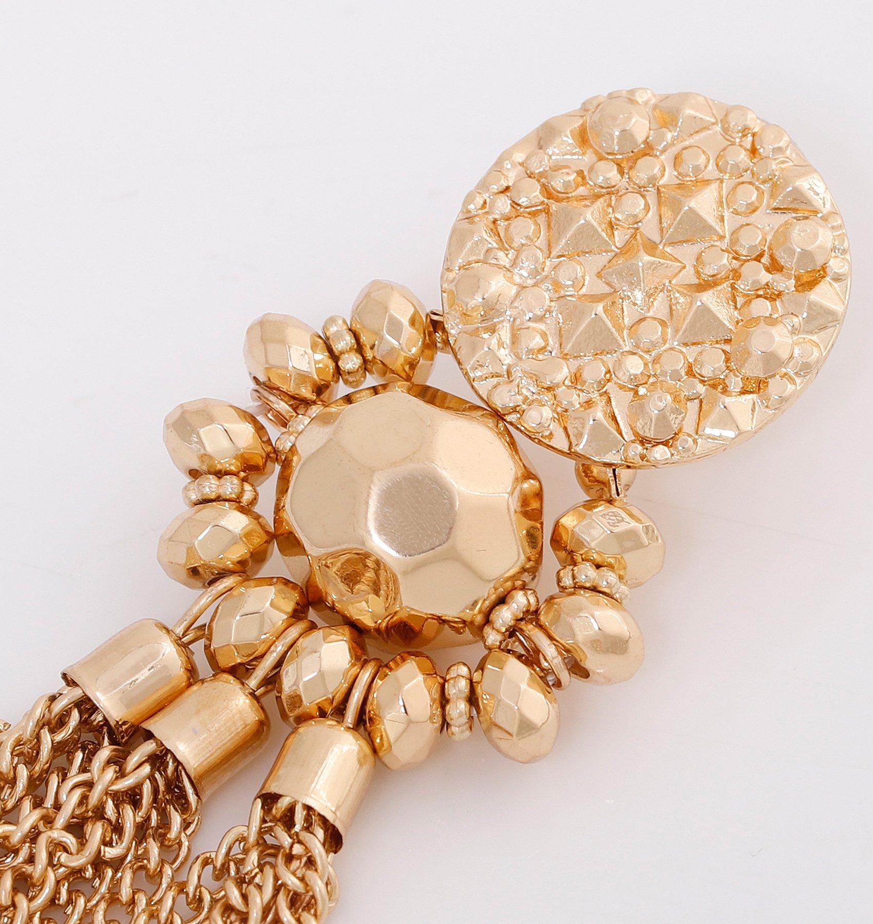 Bohemian Statement Tassel Chandelier Drop Dangle Earrings with Cassandra Button Stud (gold) by LPON (Image #5)