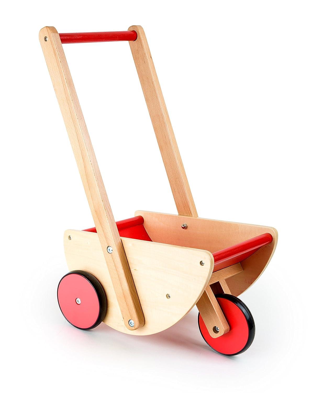 Poussette de poupées à 3 roues , poussette de poupée en bois | chariot de marche stable et robuste | en bois naturel avec roues silencieuses | à partir de 3 ans, Dimensions: environ 35 x 25 x 52 cm small foot