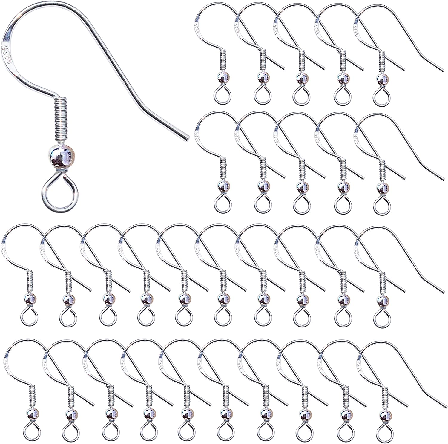 Size Approx 14x19 MM Sterling Silver 925 V Shaped Earring Hooks 10 Qty Silver Ear Wires for Jewelry Making 5 Pairs ,Closed Ring