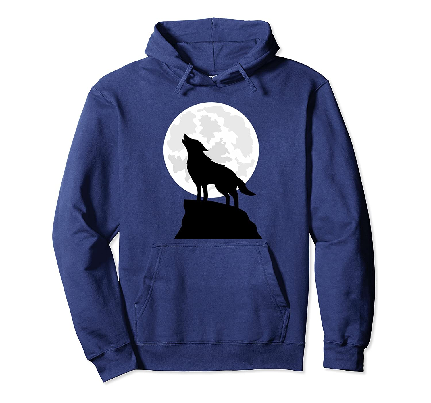 Lone Wolf Full Moon Howling Silhouette Art T-Shirt Hoodie-mt