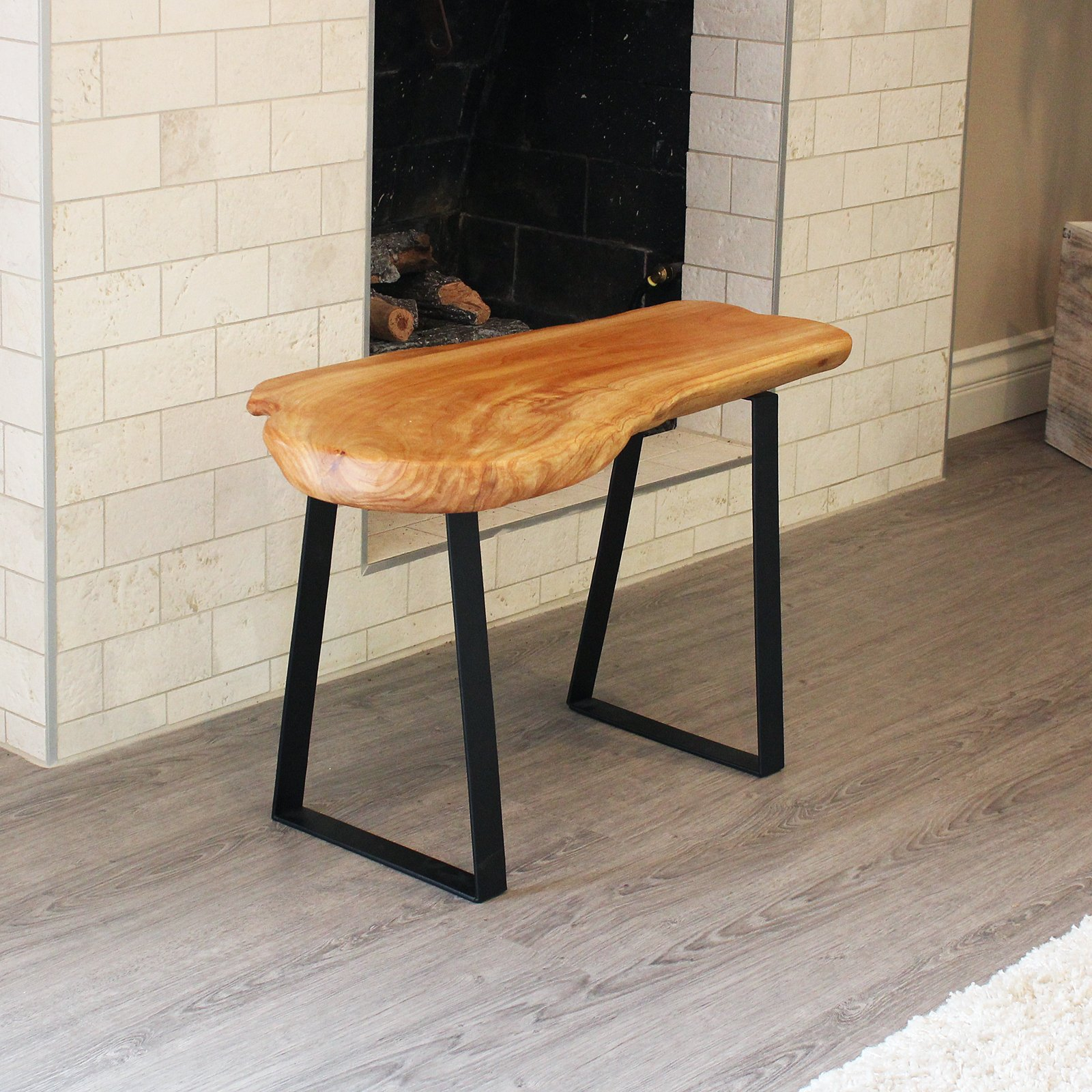 WELLAND Natural Edge Solid Wood Bench with Metal Legs, Cedar, 28'' Long by WELLAND (Image #3)