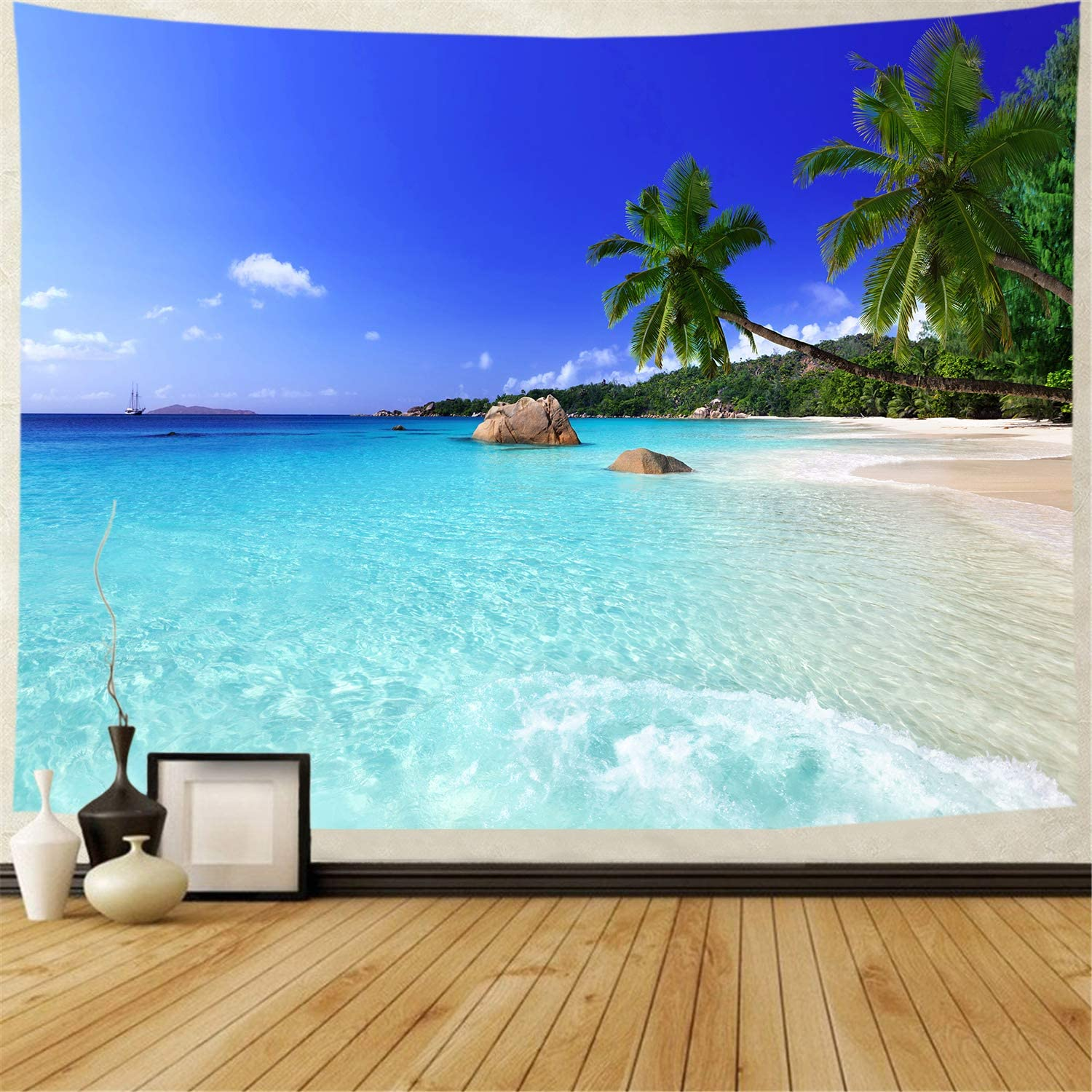Tapestry Ocean Beach Tapestry Wall Hanging Tropic Paradise Beach Wall Tapestry Coconut Tree Tapestry Hippie Bohemian Tapestry Palm Tree Tapestry For Home Decor Everything Else