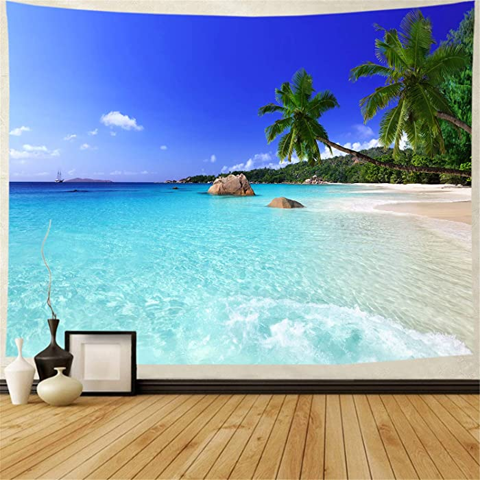 Racunbula Tapestry Ocean Beach Tapestry Wall Hanging Tropic Paradise Beach Wall Tapestry Coconut Tree Tapestry Hippie Bohemian Tapestry Palm Tree Tapestry for Living Room Bedroom Dorm Home Decor