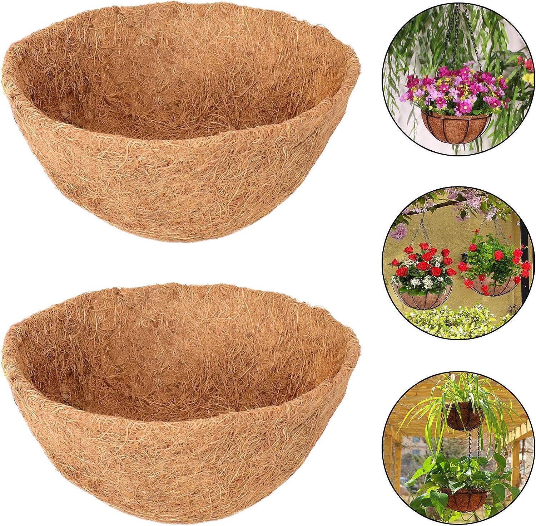 Halatool2PCS14InchRoundCocoLinersHangingBasket,100%NaturalReplacementCoconutFiberLinerforGardenFlowerPot,VegetablesHerbsPot