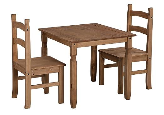 Mercers Furniture Corona – Mesa de Comedor y 2 sillas de Río, Madera de Pino