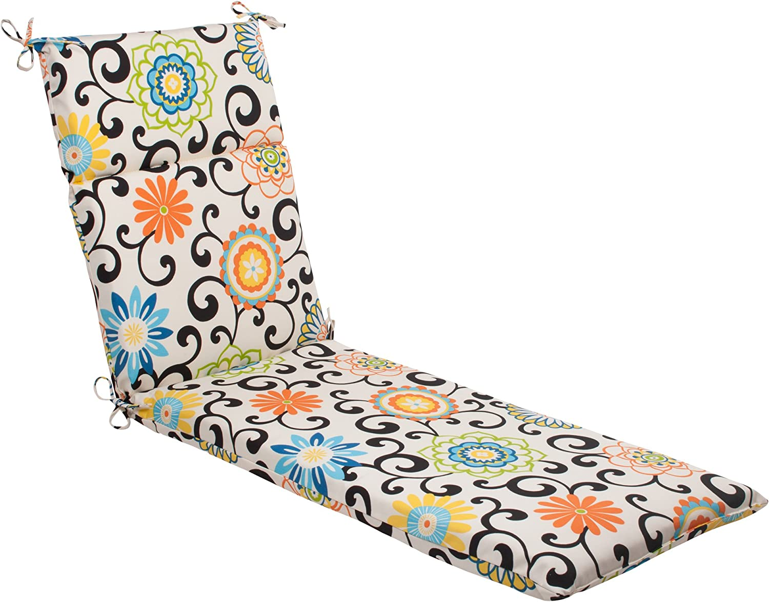Indoor Outdoor Pom Pom Play Chaise Lounge Cushion, Lagoon
