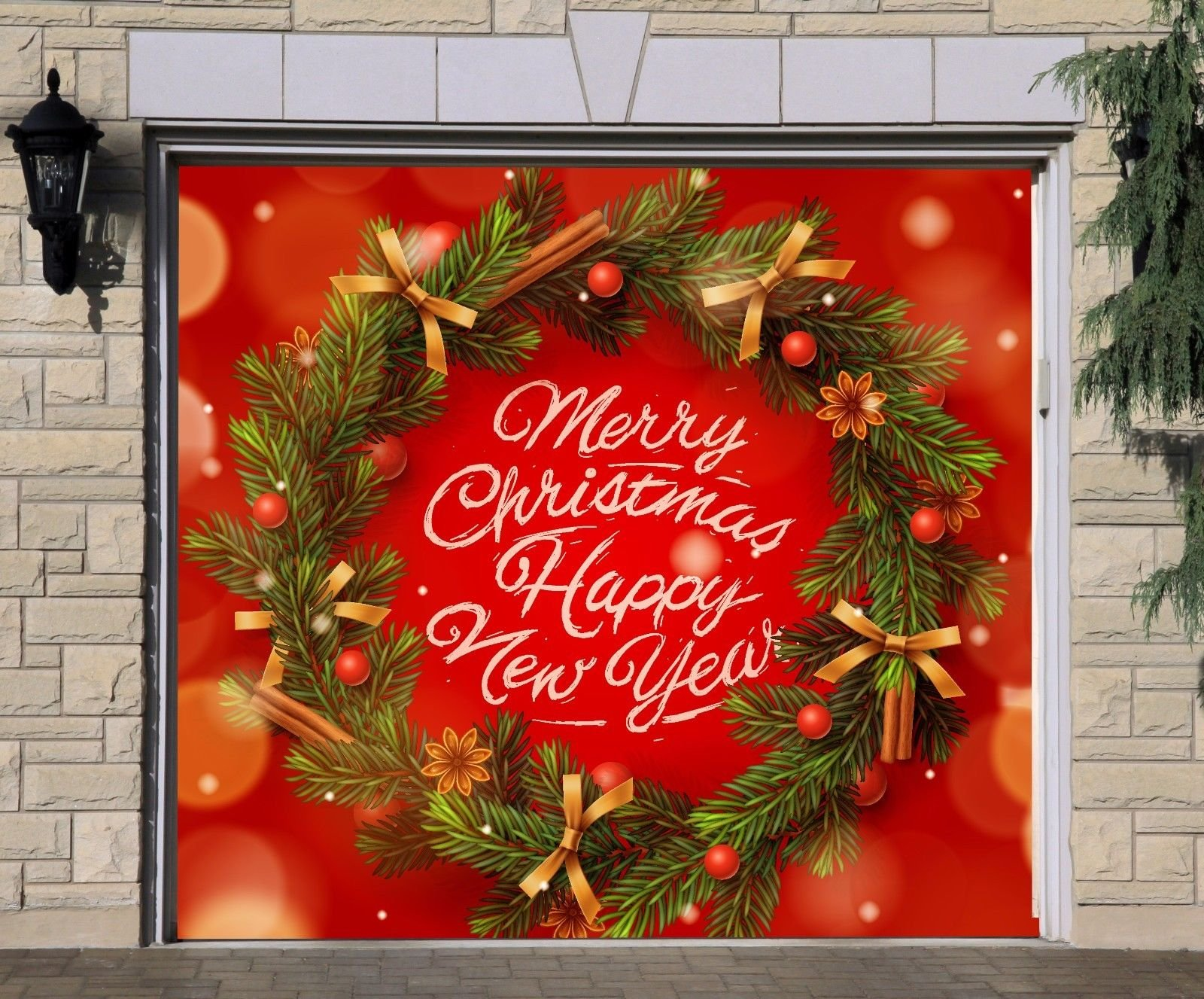 Billboard 3D Effect Wreath Christmas for Single Car Garage Holiday Banner Door Murals Covers Outdoor Full Color Decor Print Decorations of House Garage Door Cover Size 83 x 89 inches DAV205