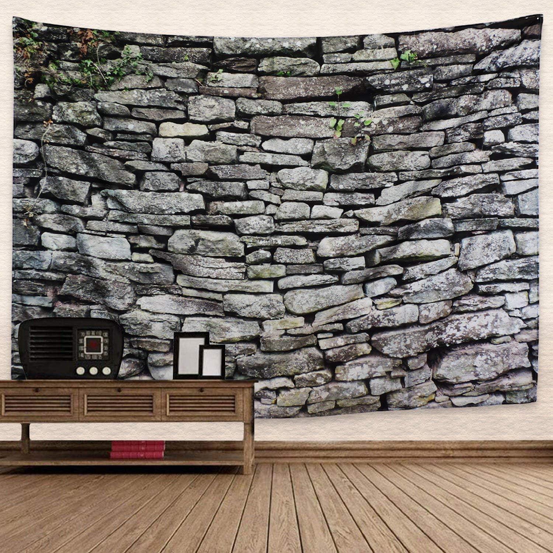 Dremisland Vintage Gris Ladrillo Tapiz de Pared Tela de Poliéster Pizarra Piedra Rocas Tapicería Mandala Colgante de Pared Decoración para Dormitorio Sala de estar