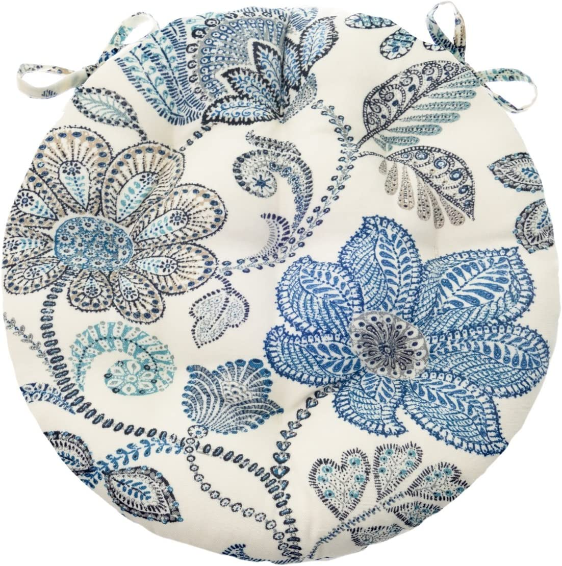 Barnett Home Decor 16 Round Bistro Cushion – Boutique Floral – Indoor Outdoor Fade Resistant, Mildew Resistant, Stain Resistant – Latex Foam Fill Blue White