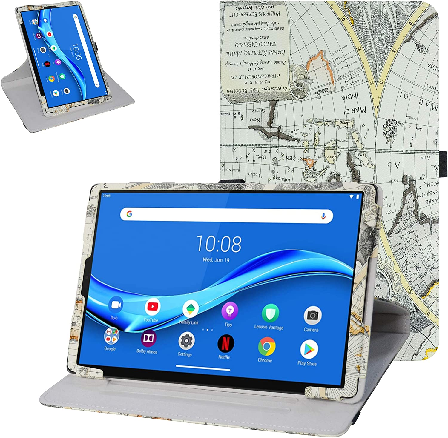 """Bige for Lenovo Tab M10 Plus Rotating Case,360 Degree Rotary Stand with Cute Pattern Cover for 10.3"""" Lenovo Tab M10 Plus/Smart Tab M10 Plus Tablet (Not fit 10.1"""" Lenovo Smart Tab M10),Map White"""