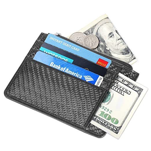 21bf3e88a8c7 Slim Wallets RFID Blocking men's Pocket Zip Coin Purse Secure Thin Credit  Card Holder