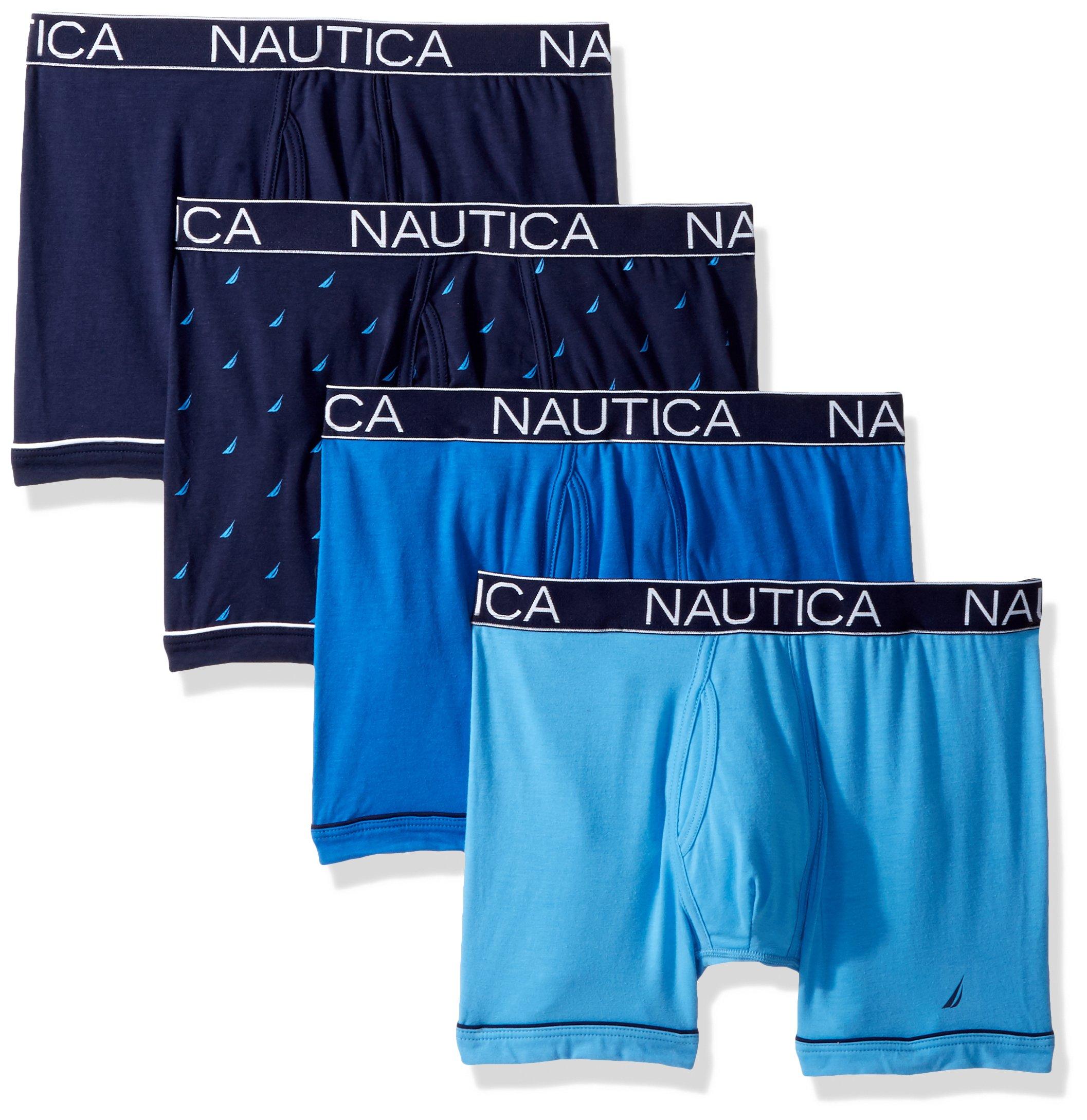 Nautica Men's Comfort Cotton Underwear Boxer Brief Multi Pack, 4 Pack Peacoat/Aero/Sea Cobalt/Sail Print, L