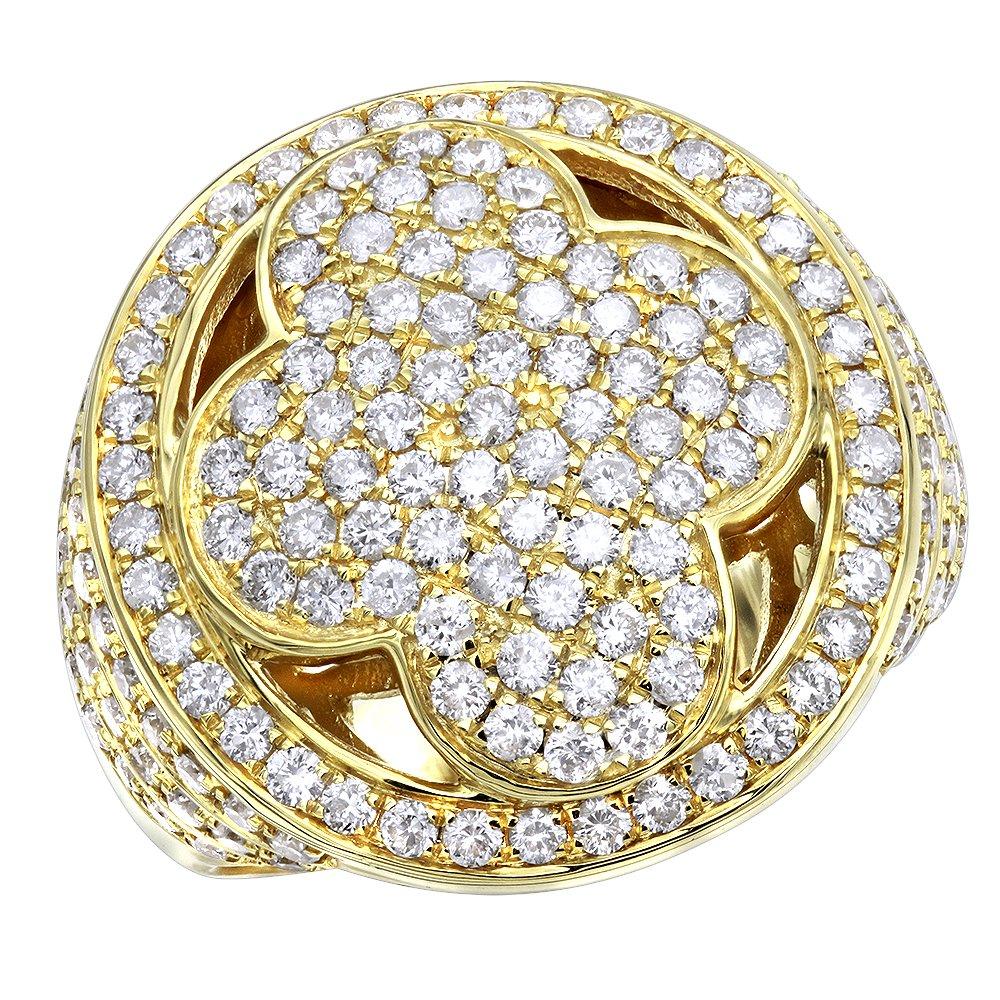 14K Gold Mens Diamond Band Pinky Cross Ring 3ctw (Yellow Gold, Size 11.5)