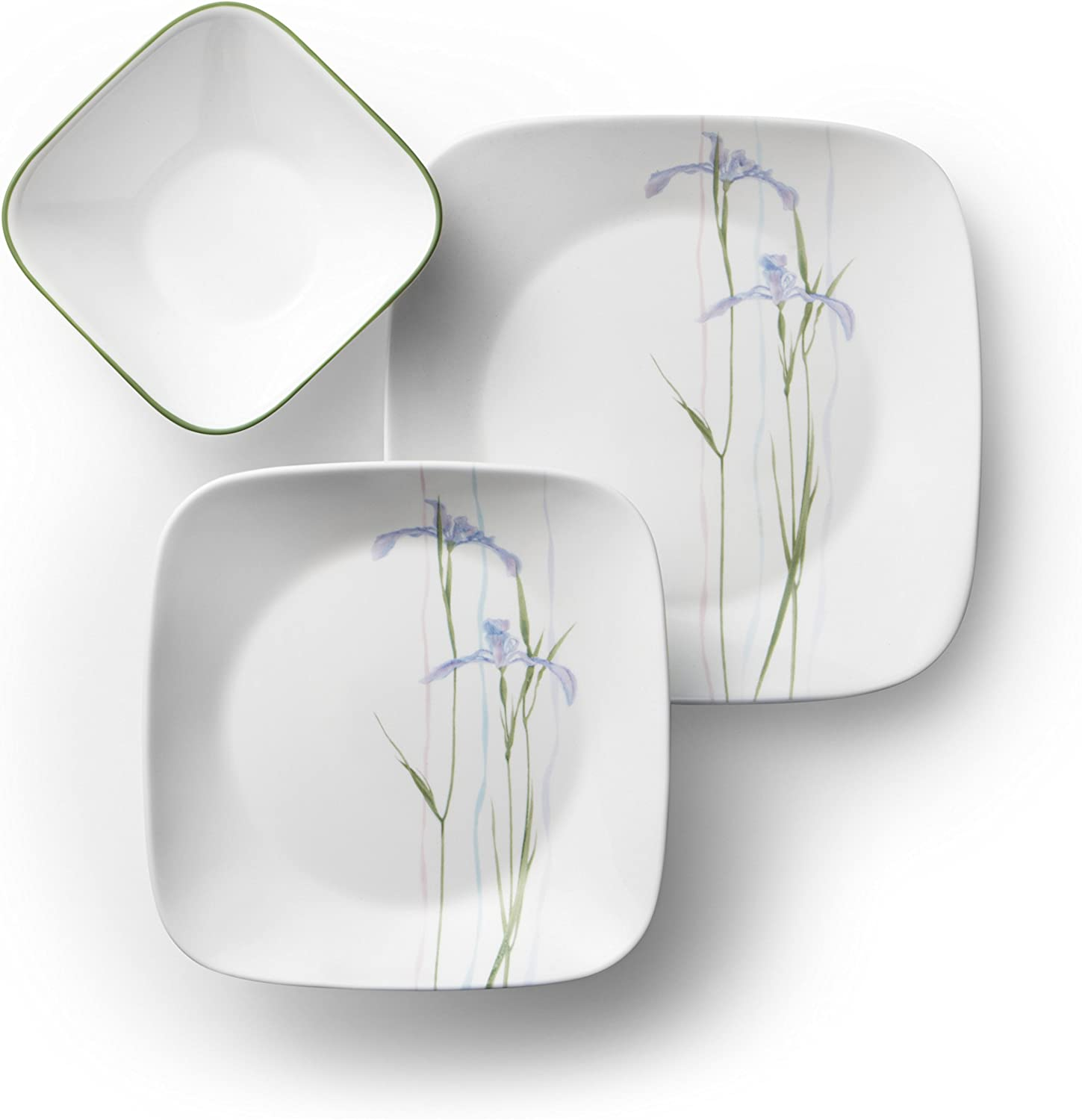 Corelle Service for 6, Chip Resistant, Timber Shadows Dinnerware Set, 18-Piece Shadow Iris