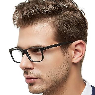 OCCI CHIARI Mens Rectangle Stylish Optical Eyewear Frame Metal Decoration  Clear Lens Glasses(Black 1e70a11f8ffe